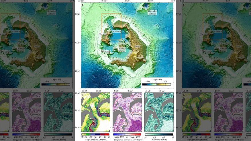 Комбинированная топографическая карта вулканической области Санторини показывает, как поток вулканического материала вошел в море через северо-западный пролив