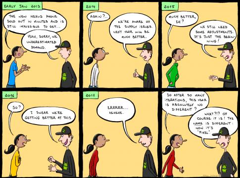 Программист Google нарисовал забавный мультфильм о том, как трудно найти телефон Pixel