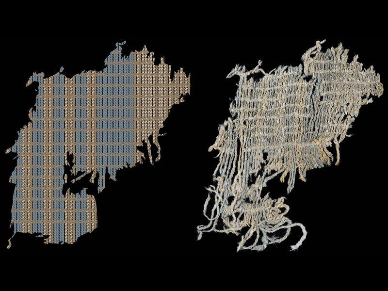 изображение показывает клочок ткани окрашенной индиго (справа) и диаграммы ткани (слева), выделяя синие полосы